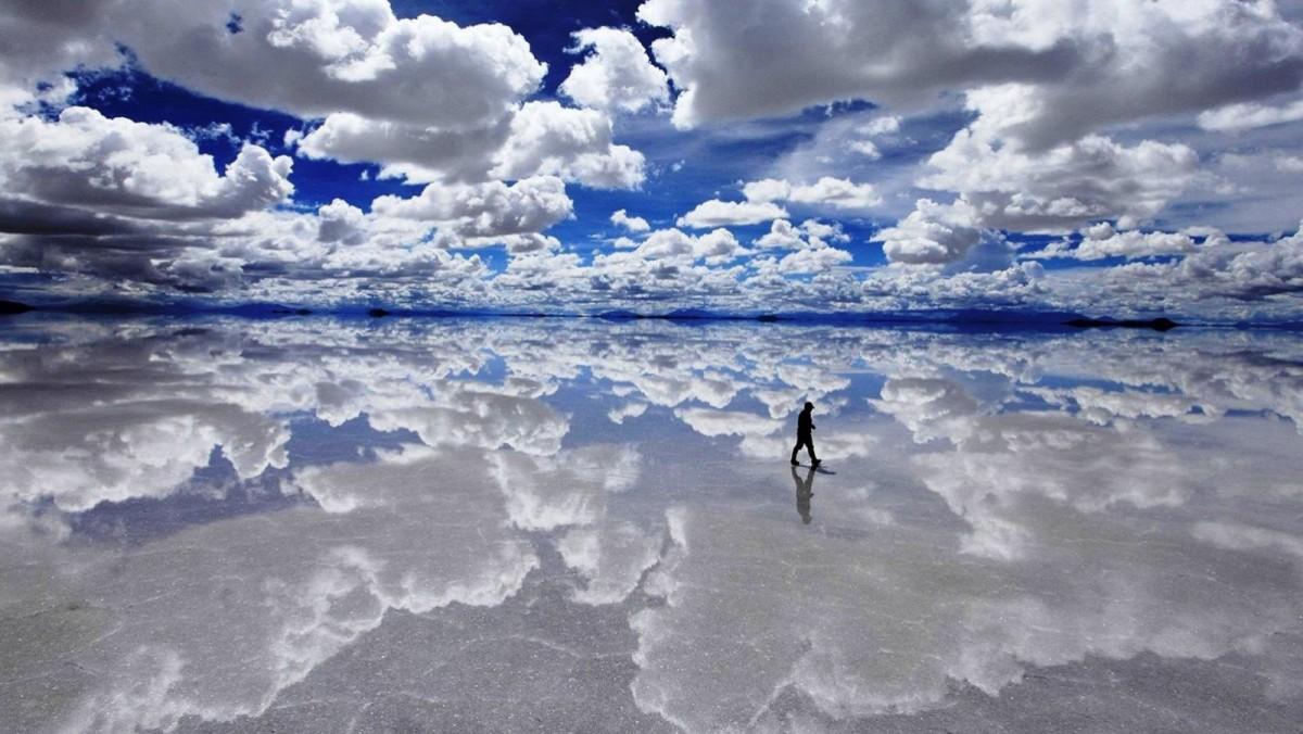 El curioso Salar de Uyuni, en Bolivia.