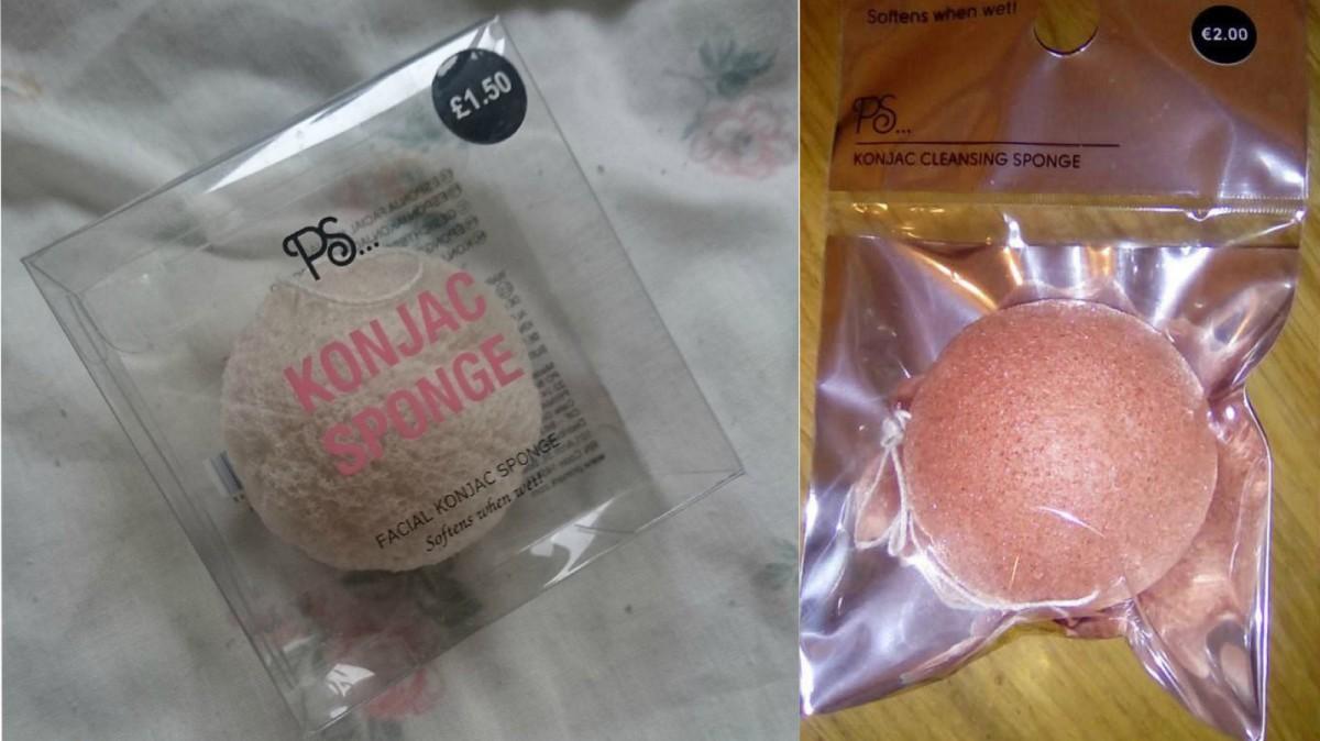 Dos de los modelos de esponjas Konjac que se pueden encontrar en Primark