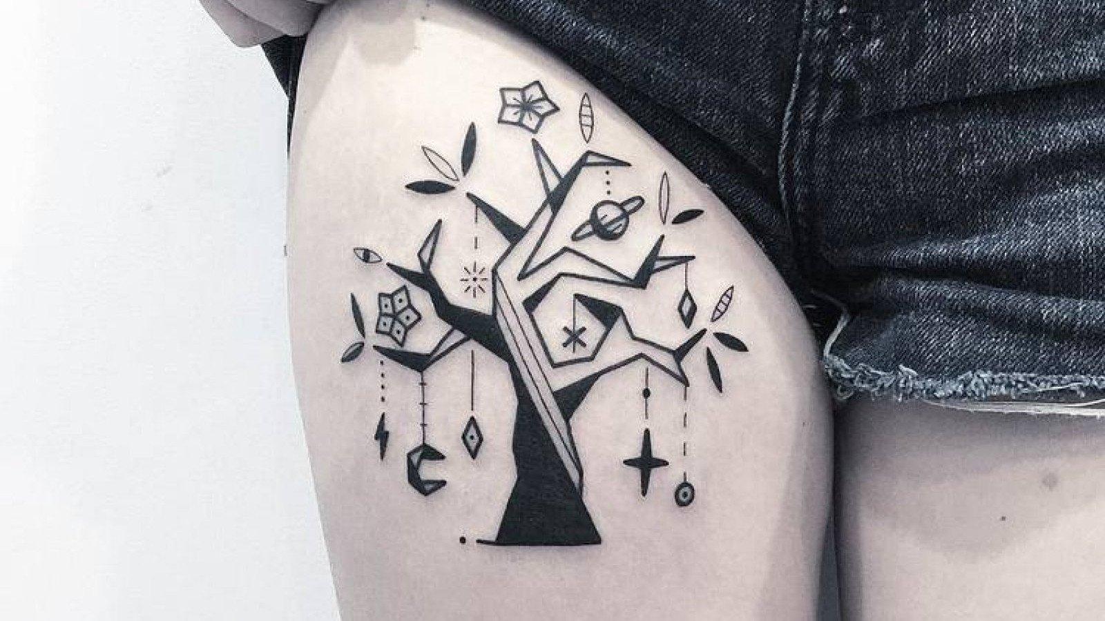 Tatuaje estilo Blackwork.