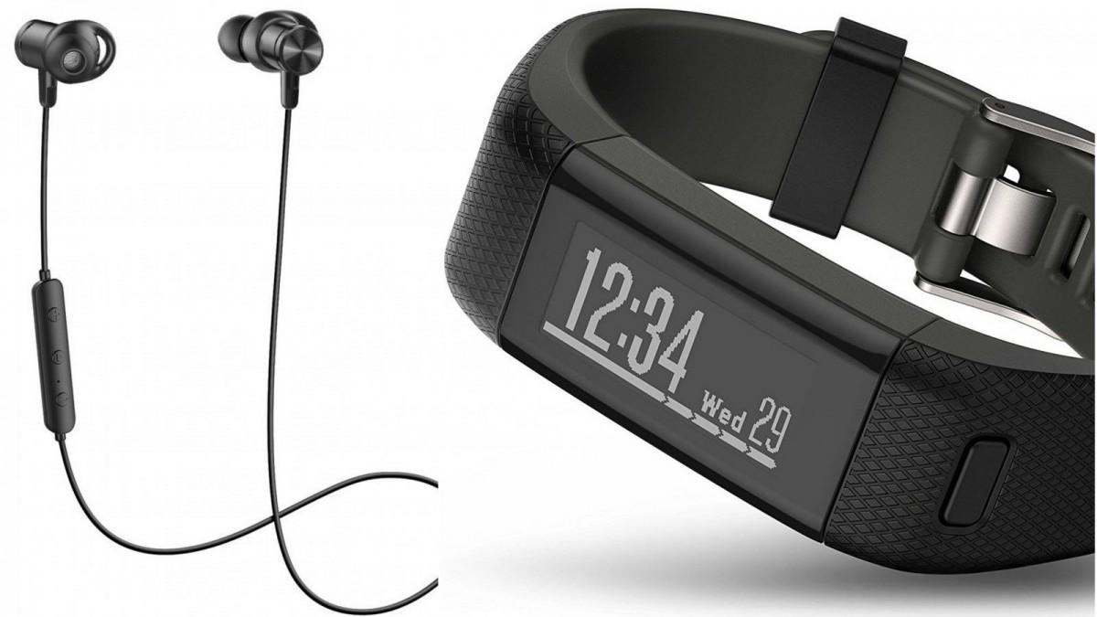 Unos auriculares inalámbricos y una pulsera de actividad Garmin.