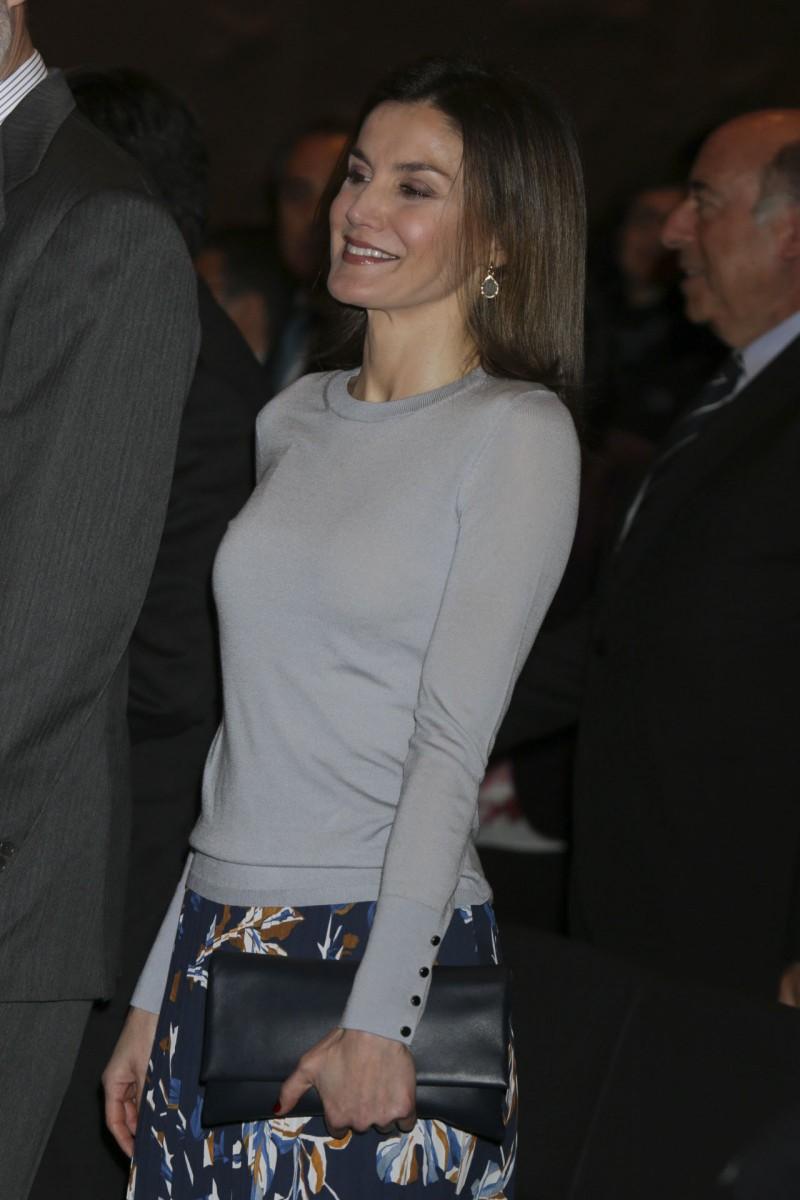 Imagen de la reina Letizia durante la entrega de becas de La Caixa.