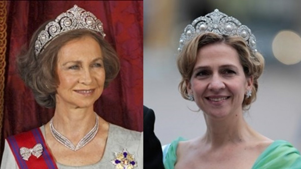 Doña Sofía y la infanta Cristina con la tiara Cartier