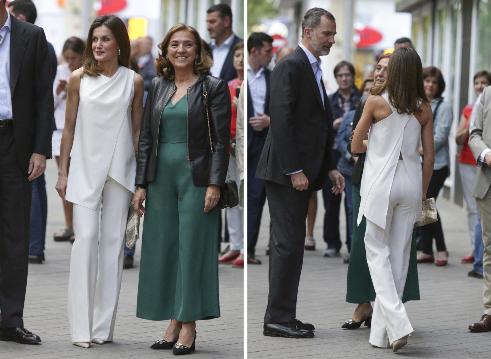 El estilismo elegido por la reina Letizia, donde se puede apreciar el detalle de la espalda