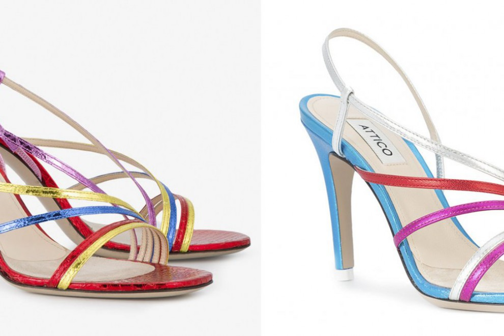 Diferentes modelos de sandalias de Attico cuyo precio asciende a los 1.000 euros