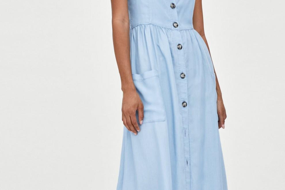 Vestido 'midi' de botones de Zara, por 29,95 euros.