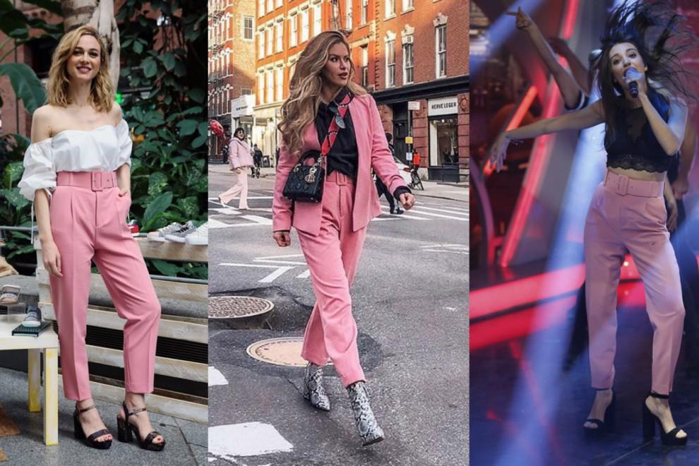 Marta Hazas, Maja Malnar y Ana Guerra luciendo el pantalón rosa con cinturón de Zara