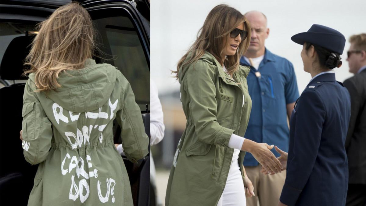 La primera dama de los Estados Unidos, Melania Trump, con la chaqueta de la polémica
