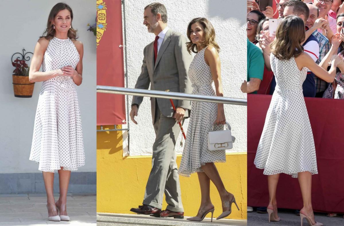 El estilismo de la reina Letizia, con vestido de Carolina Herrera y zapatos de Steve Madden
