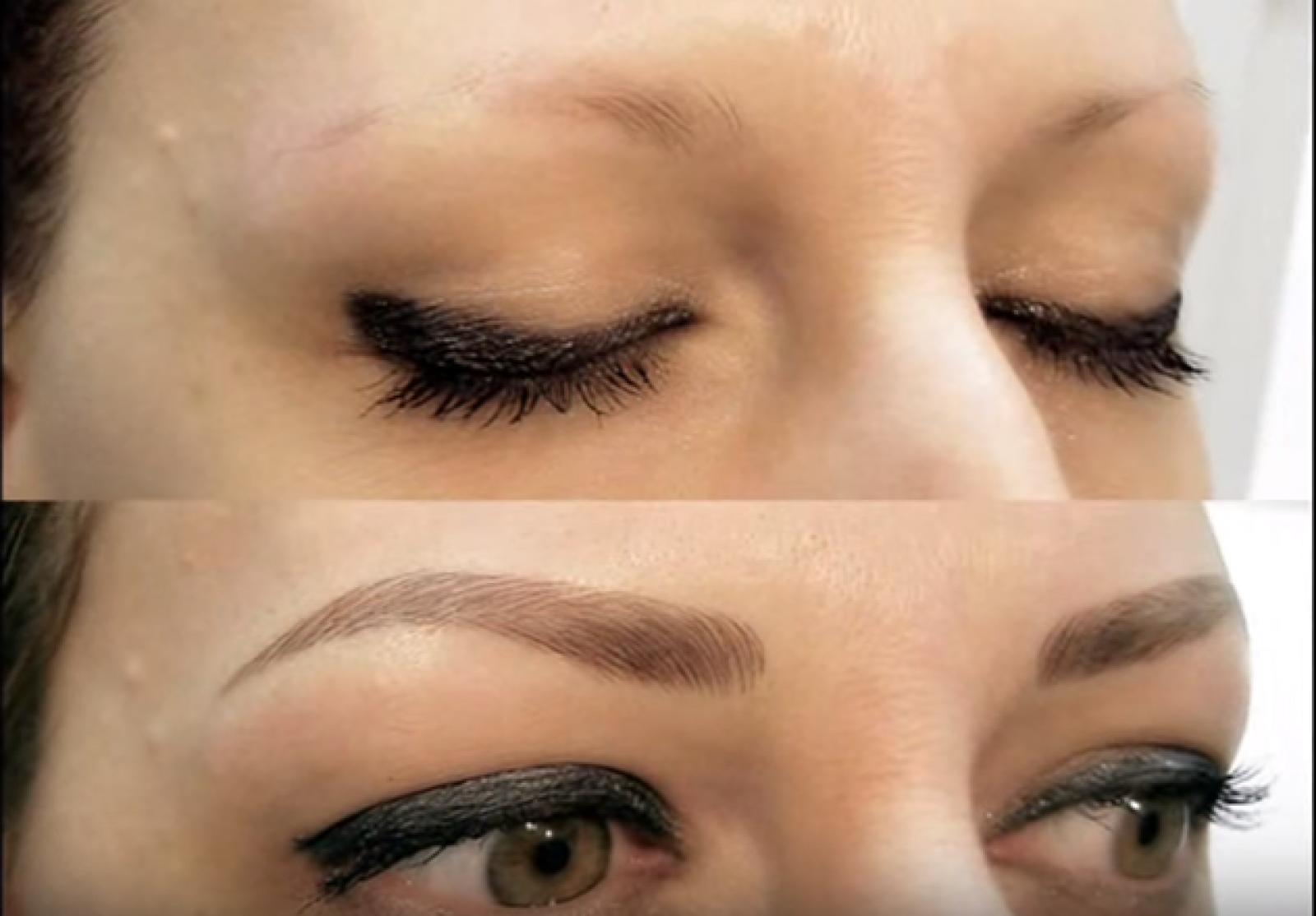 El antes y después de utilizar la técnica microblading para cejas.