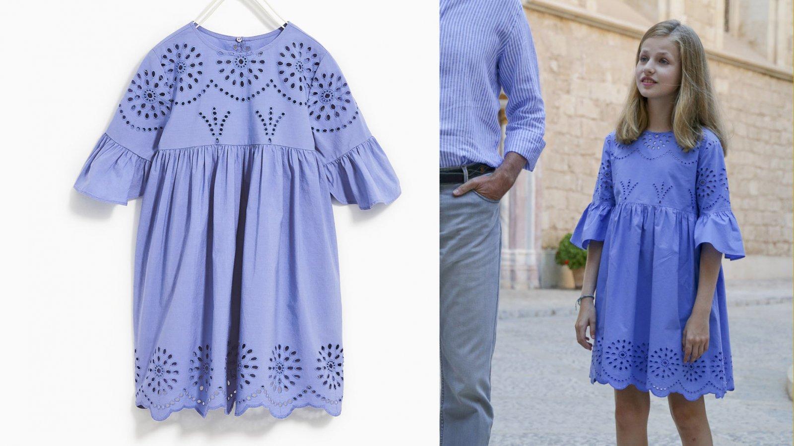 El vestido azul de Zara de la princesa Leonor, por 22,95 euros