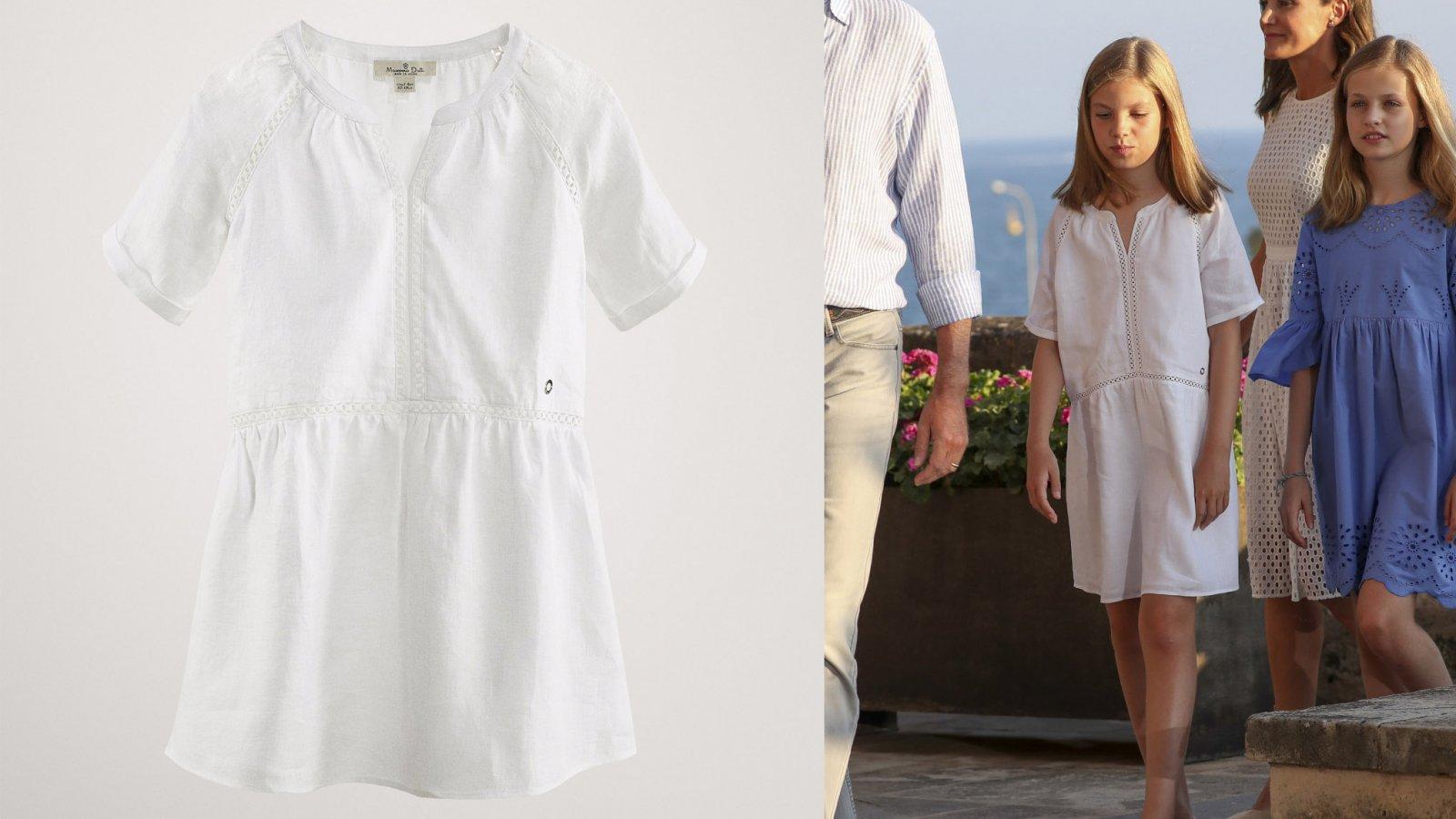 El vestido blanco de Massimo Dutti de la infanta Sofía, por 35,95 euros