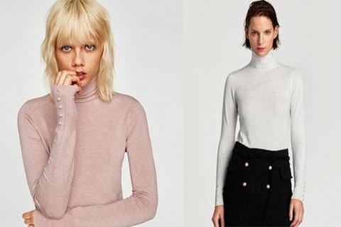 Jersey básico de Zara en colores rosa y blanco