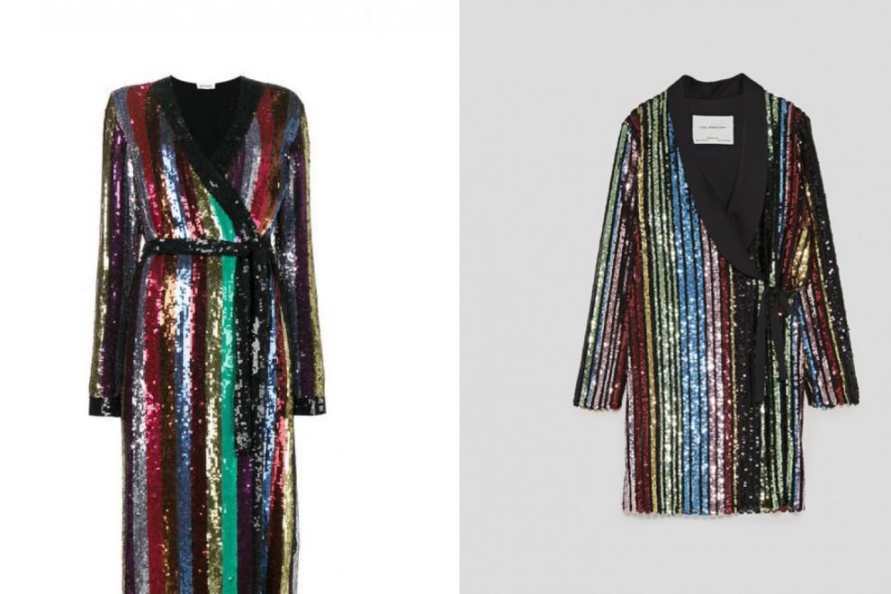 El vestido largo de lentejuelas de Attico vs. la versión de Zara