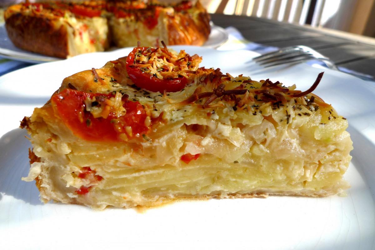 Pastel de patata con verdura