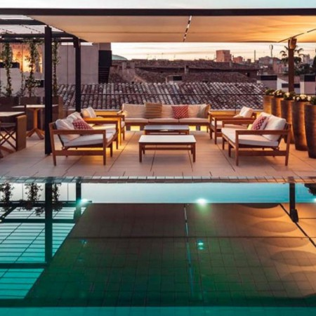 Terraza de este exclusivo alojamiento en el corazón de Palma de Mallorca
