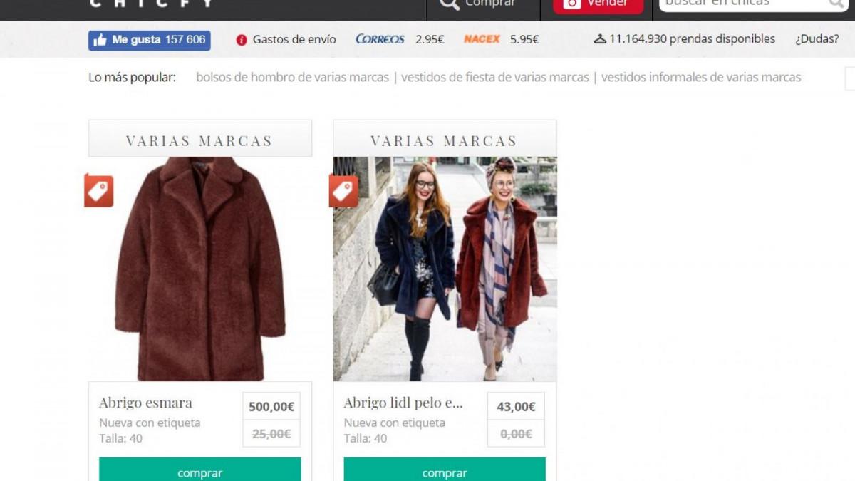 Búsqueda del éxitoso abrigo de Lidl en la plataforma Chicfy