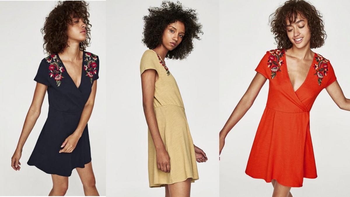 Mini vestido bordado en varios colores, de Zara por 7,99 euros (antes 25,95 euros)