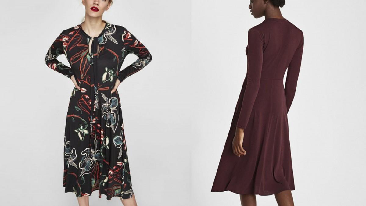 Vestido de línea evasé con lazo en el cuello de Zara por 9,99 euros (antes 25,95 euros)