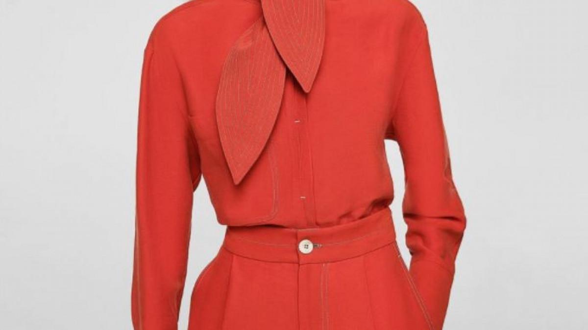 Conjunto de camisa y pantalón costuras contraste de Mango, por 39,99 euros cada prenda