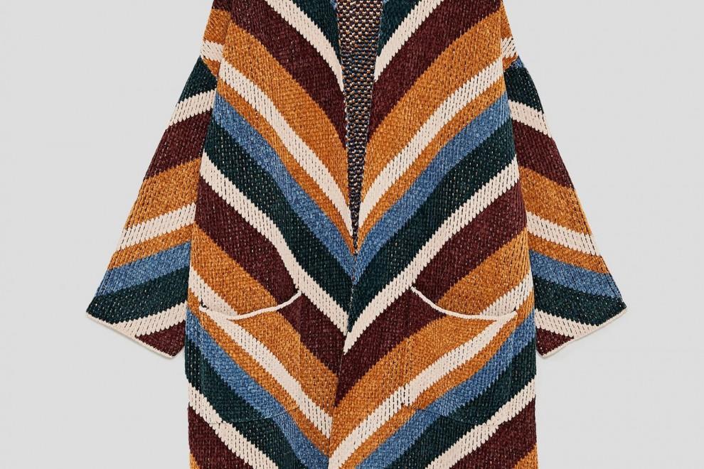 Abrigo Oversize Jacquard de Zara, por 29,99 euros (antes 59,95 euros)