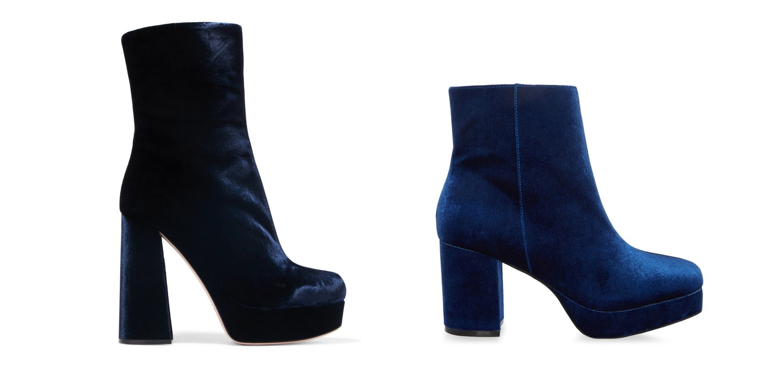 Los botines de terciopelo azul de Miu Miu vs. el diseño 'low-cost' de Primark