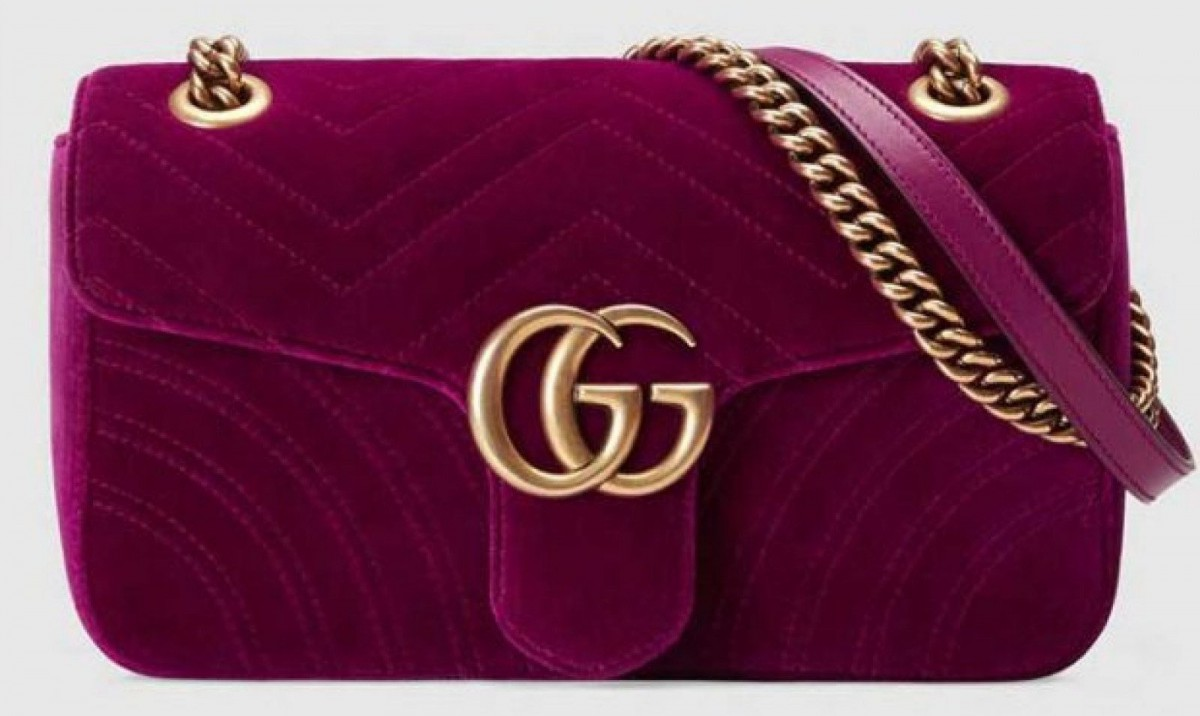 Bolso de Hombro GG Marmont de Terciopelo de Gucci