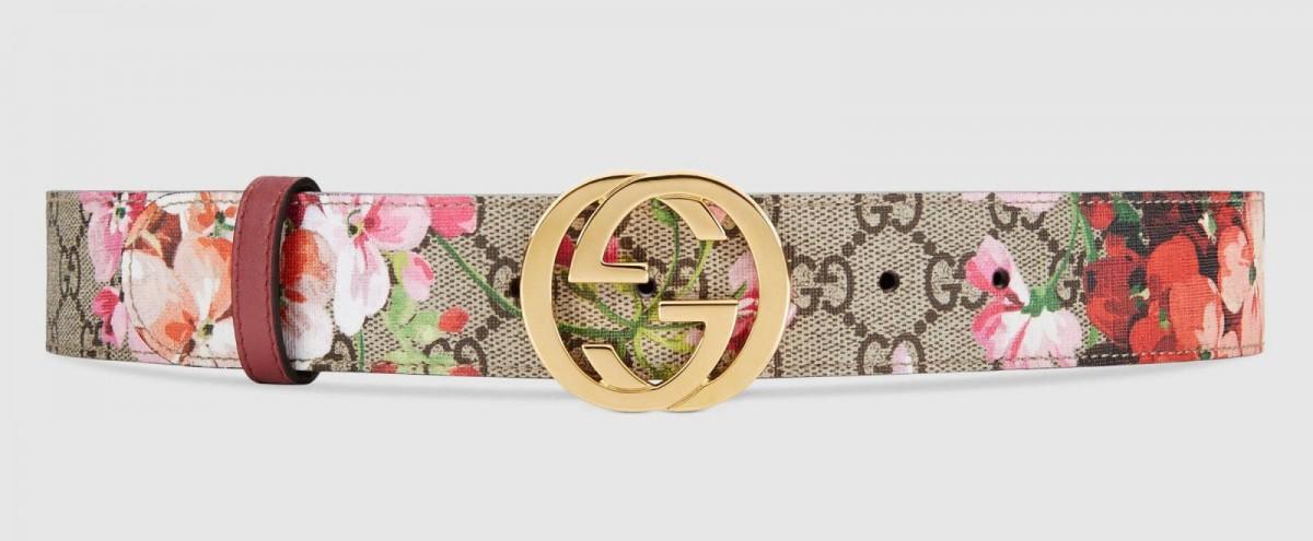 Cinturón GG de estampado floral de Gucci