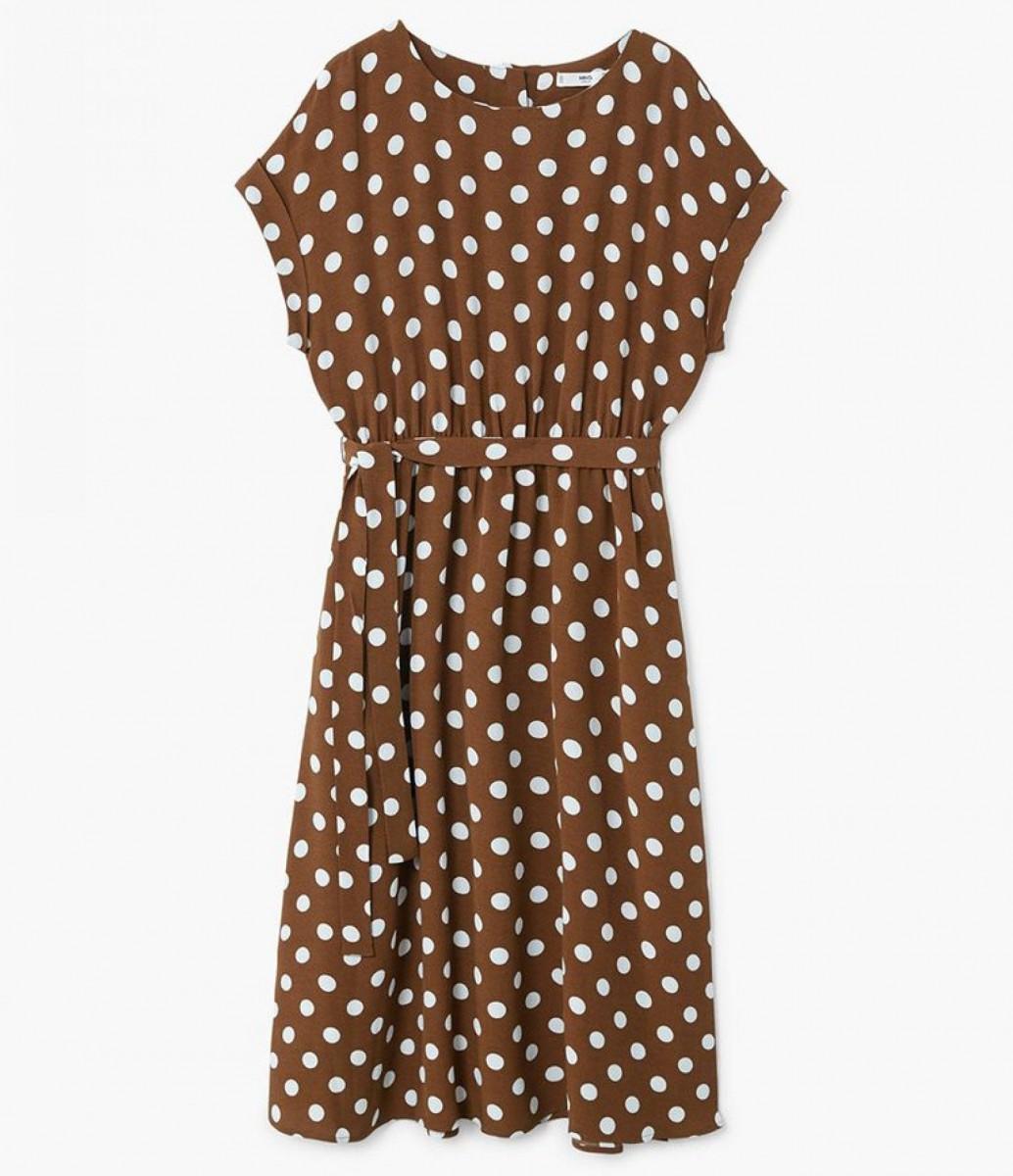 Vestido midi lunares de color marrón de Mango, por 39,99 euros