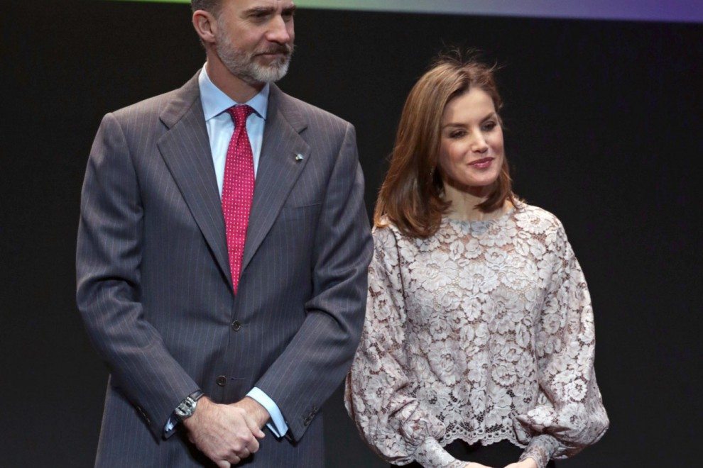 El rey Felipe VI y la reina Letizia durante el acto público de este lunes